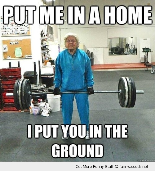 Granny deadlifting a heavy weight. It is never too late to start muscle building to stay strong and healthy into old age