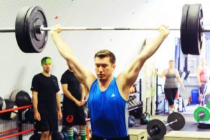 Nathan snatching at club olympic lifting competition