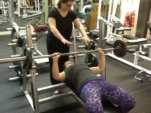 Weight training for women - Becca with a bench press max of 40kg during Ladies Who Lift