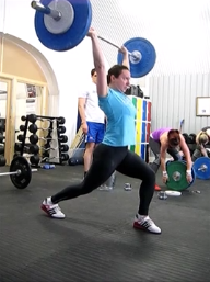 Sally doing a 65kg jerk
