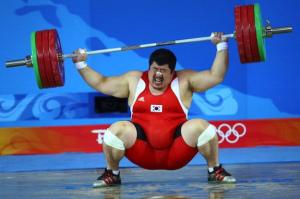 Korean weightlifter misses snatch