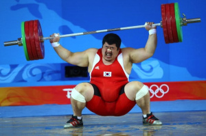 Korean weightlifter misses snatch