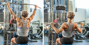 Perform lat pulldowns with proper form for stronger pull ups