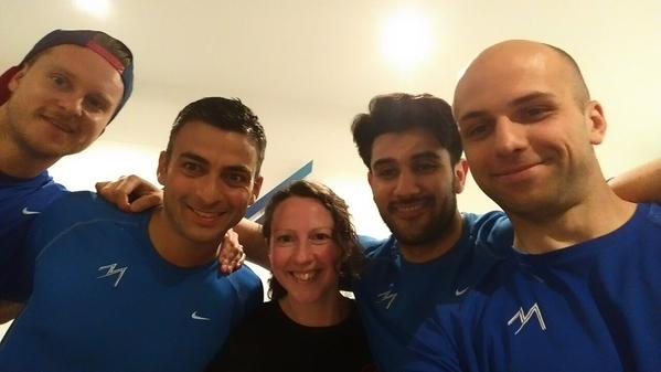 Sally with the personal trainers from MyFitness Studio after a tailored strength workshop