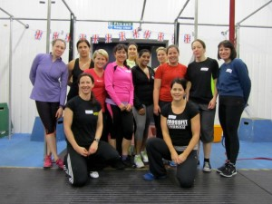 Sally with her co-instructors and participants on the WonderBar Olympic Lifting workshop, part of a series of strength workshops for women