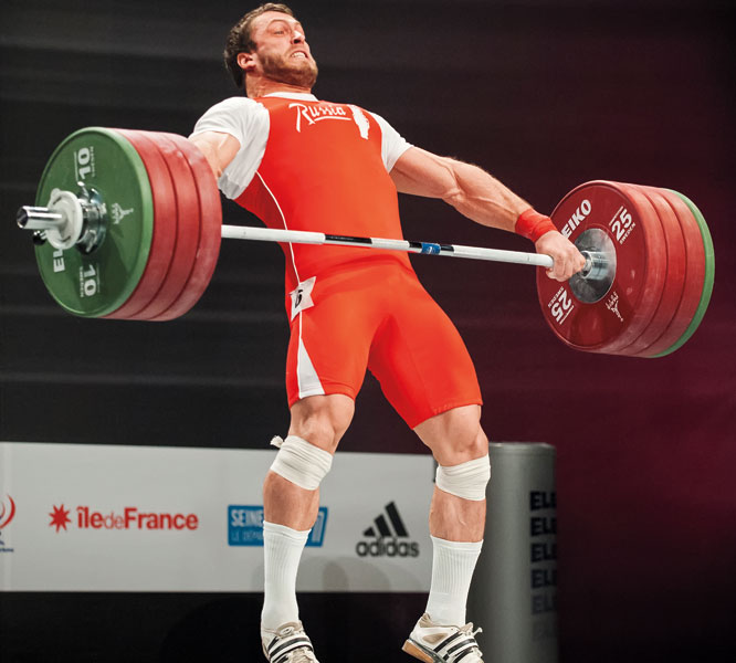 Klokov knows how to get the bar into the hip during the snatch