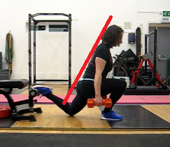 Rear foot elevated split squat bottom position with a flat back