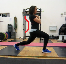 Split squat with hyper-extended lower back