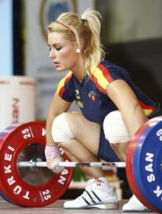 Focus and effort are important to weight lifting technique - Lidia Valentin about to lift