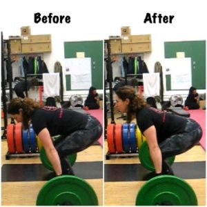Put your shoulder blades in your back pockets - excellent cue to put your back in a safe position for lifting heavy