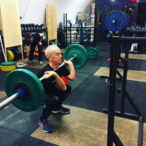 Ken is building strength in the front squat