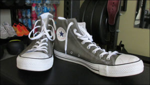 Converse Chuck Taylor shoes popular for weight training and powerlifting