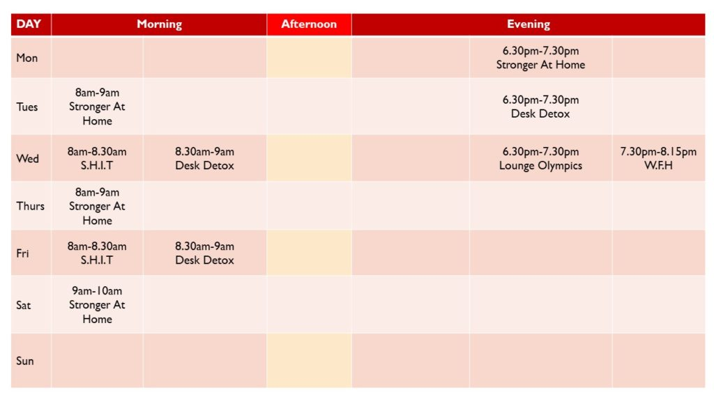 Schedule for online strength classes