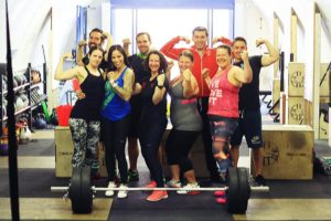 Lifters at club olympic lifting competition