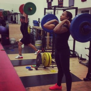Working on the clean and jerk in class